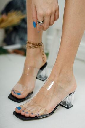 meyra'nın ayakkabıları Kadın Şeffaf Bant Ve Siyah Taban Topuk Detay Topuklu Ayakkabı 2