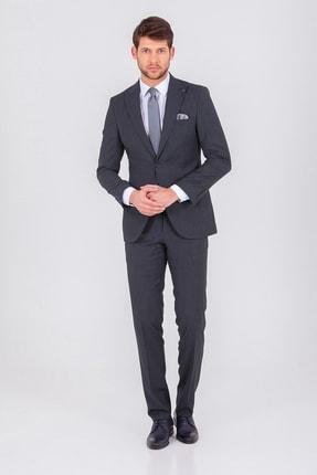 Desenli Slim Fit Antrasit Takım Elbise 33201319D001 resmi