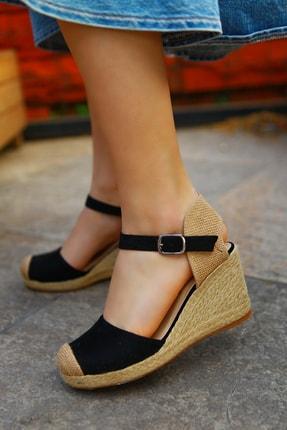 TRENDBU AYAKKABI Kadın Siyah Süet Dolgu Topuklu Ayakkabı 0