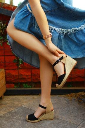 TRENDBU AYAKKABI Kadın Siyah Süet Dolgu Topuklu Ayakkabı 1