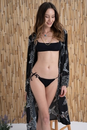 Rossa İntimo Kadın Kuş Desenli Siyah Kimono & Kaftan 0