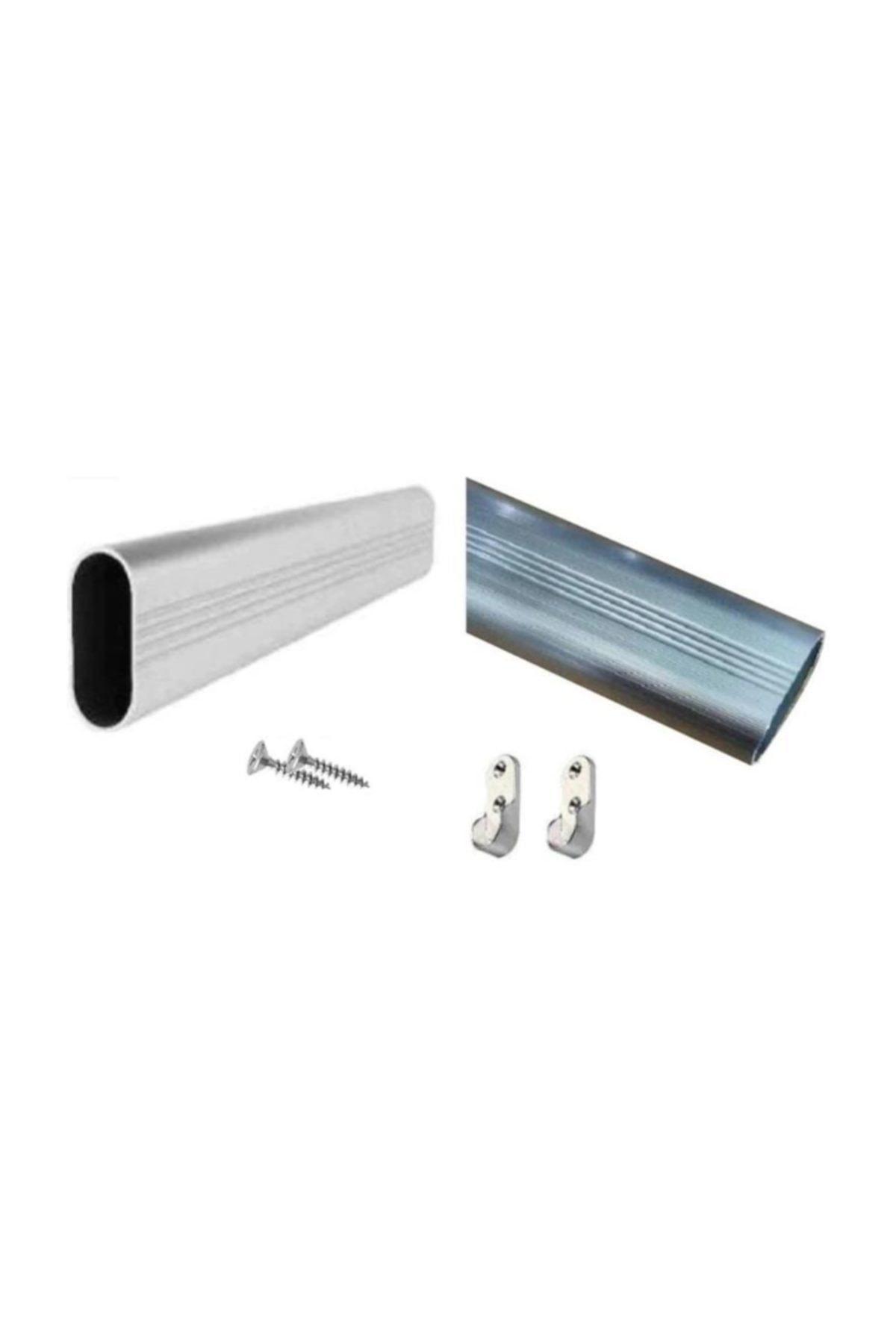 U Alüminyum 100 Cm Uzunluk Dolap Içi Boru Askı Borusu + 2 Adet Flanş + Vidaları