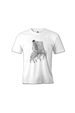 Ayı - Greyangles Beyaz Erkek Tshirt resmi