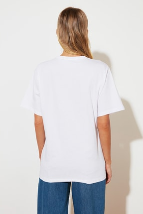TRENDYOLMİLLA Beyaz %100 Pamuk Bisiklet Yaka Boyfriend Örme T-Shirt TWOSS20TS0134 4