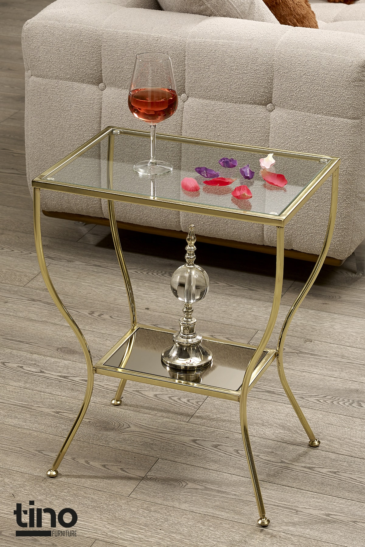 Floransa Gold Kaplama Yan Sehpa Cam Ve Ayna Raflı Metal Komodin