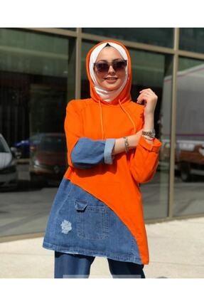 My Magazin Kadın Kot Garneli Sweat Tunik 1
