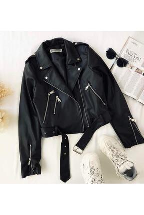 Crep Tekstil Kadın Deri Ceket 1
