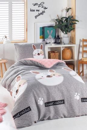 Ev & Ev Home Junior Nevresim Seti Tek Kişilik Tavşancık A.Kahve-Gri-Pembe 0
