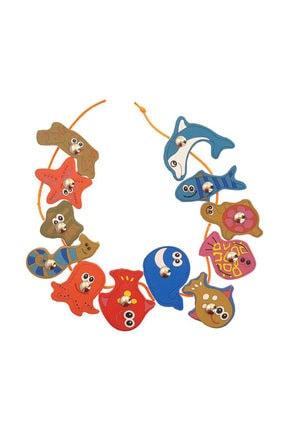 WoodyLife Ahşap Balık Tutma İpe Dizme Bultak Oyunu Montessori Çocuk Etkinlik Zeka 2