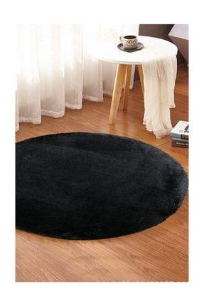 Sarar 100 x 100 cm Yuvarlak Düz Renk Peluş Pofuduk Kaydırmaz Jel Taban Siyah Renk Halı 0