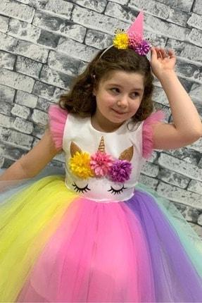 Mnk Rengarenk Sanç Bantlı Kız Çocuk Parti Elbisesi 1