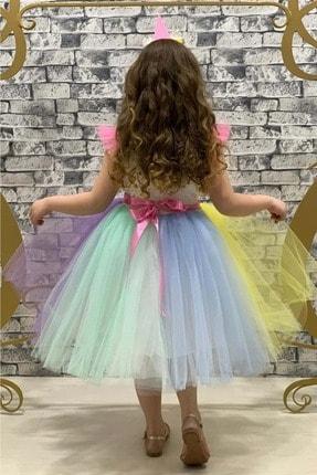 Mnk Rengarenk Sanç Bantlı Kız Çocuk Parti Elbisesi 2