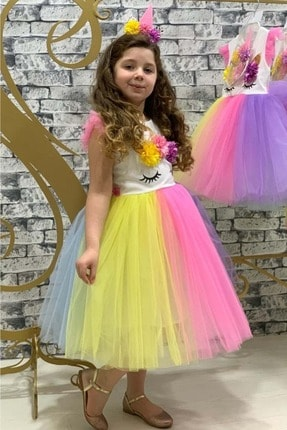 Mnk Rengarenk Sanç Bantlı Kız Çocuk Parti Elbisesi 3