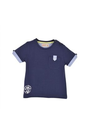 تصویر از Erkek Bebek  Lacivert Renkli Omuzdan Düğmeli Cep Detaylı Tişört - Bk 115295