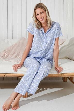 Penti Mavi Leofloral Gömlek Pantolon Takımı 0
