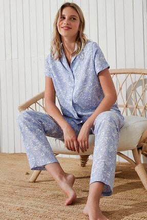 Penti Mavi Leofloral Gömlek Pantolon Takımı 1