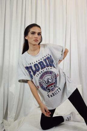 blackjack giyim Kadın Gri Oversize Florida Tshirt 0