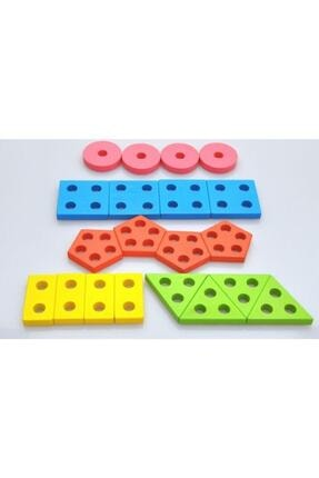 WOODOY Ahşap Oyuncak Geometrik Şekil Yerleştirme 5'li Diktörgen Bultak 2