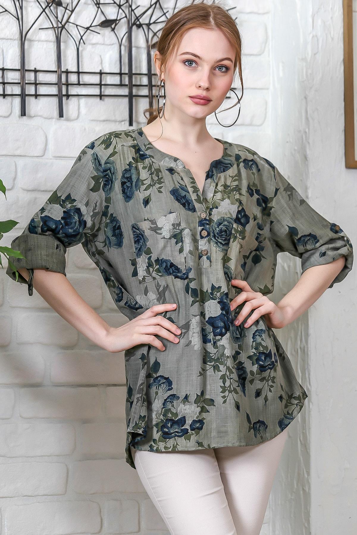 Chiccy Kadın Haki Sıfır Yaka Patı Düğme Detaylı Çiçek Desenli Salaş Gömlek M10010200BL95486 0