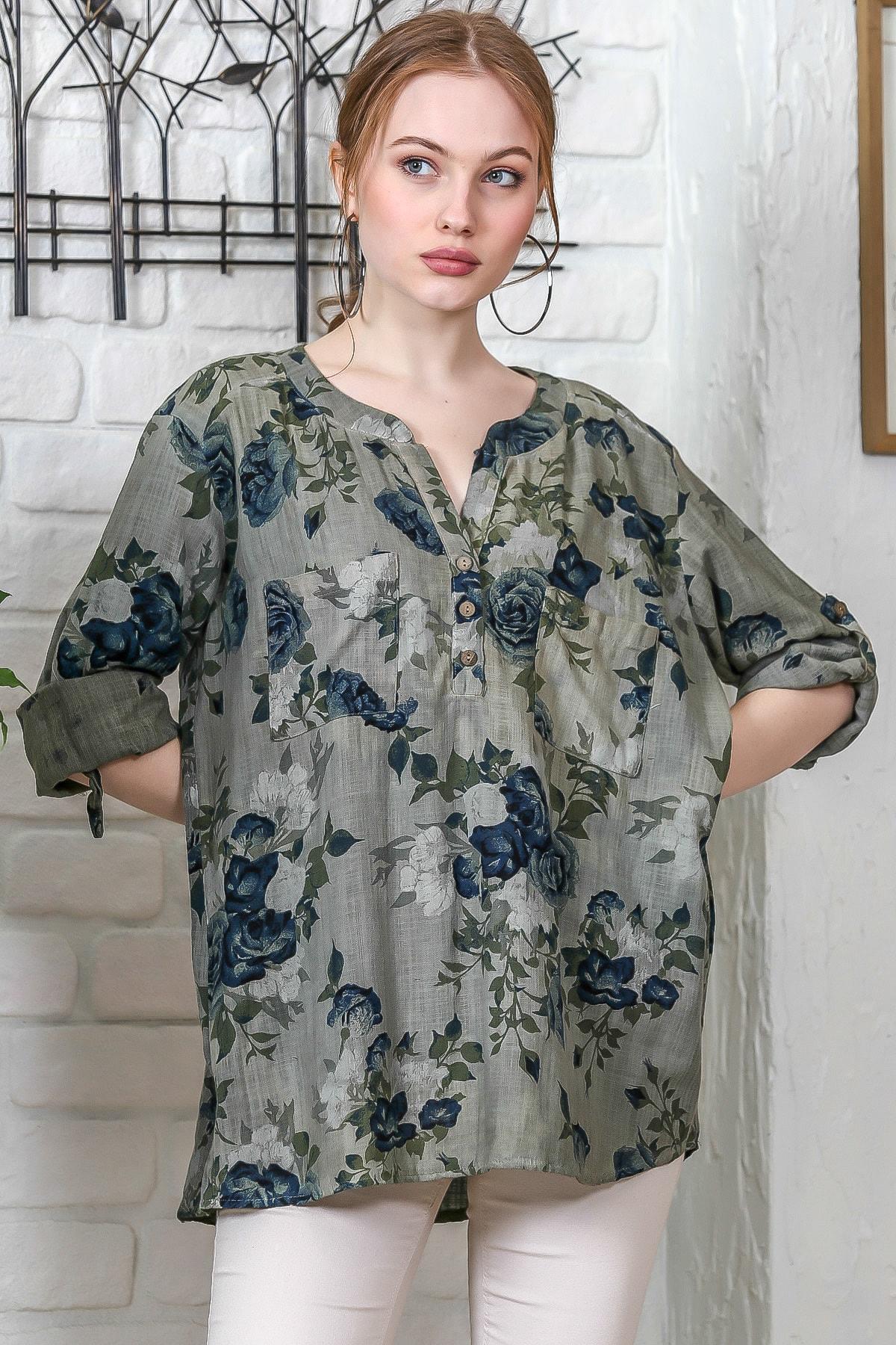 Chiccy Kadın Haki Sıfır Yaka Patı Düğme Detaylı Çiçek Desenli Salaş Gömlek M10010200BL95486 1