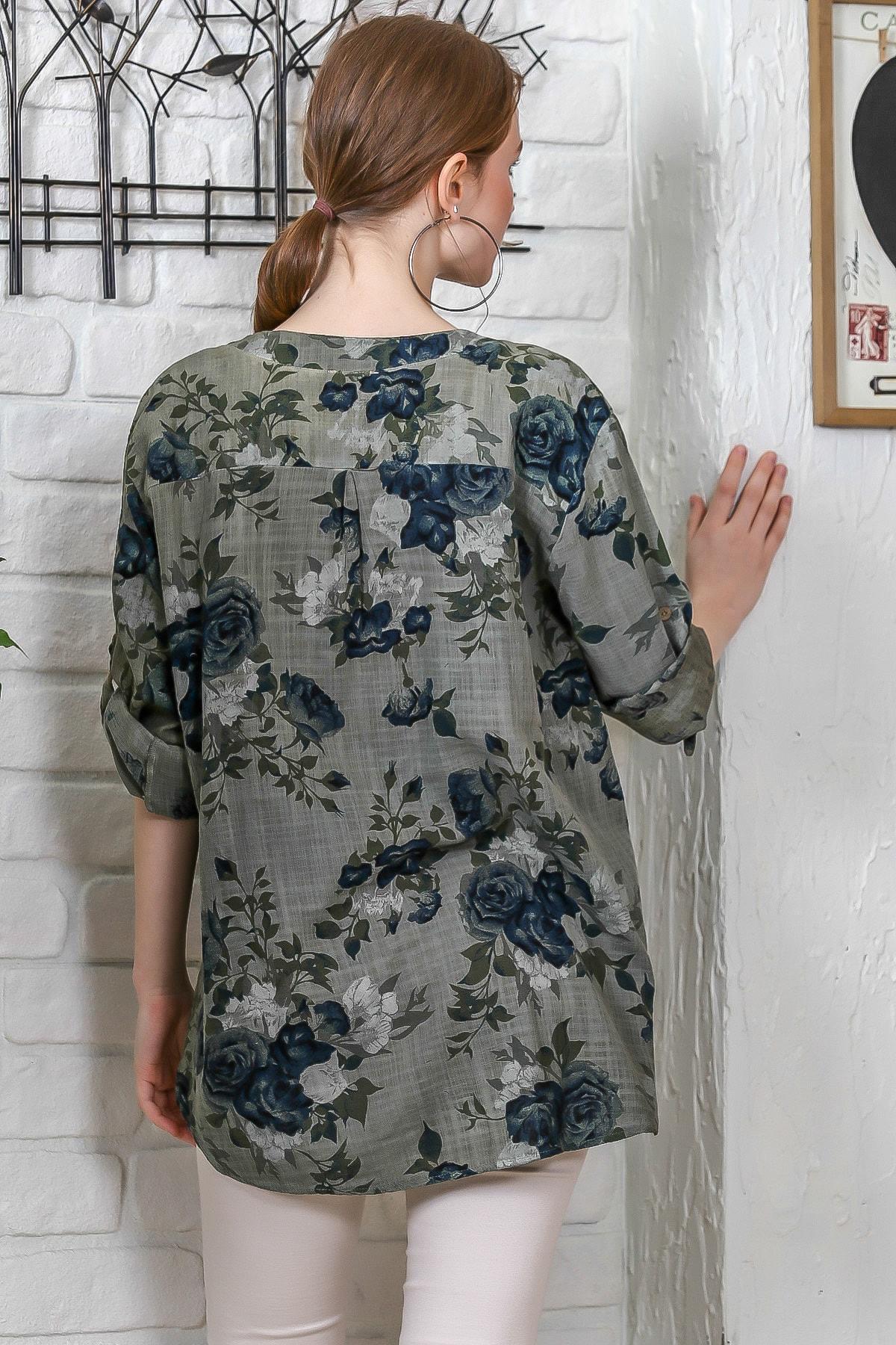 Chiccy Kadın Haki Sıfır Yaka Patı Düğme Detaylı Çiçek Desenli Salaş Gömlek M10010200BL95486 4