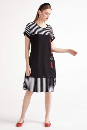 Sementa Marine Kısa Kol Kadın Elbise - Siyah 1
