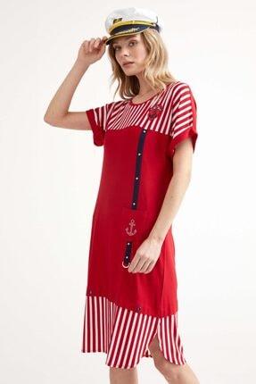 Sementa Marine Kısa Kol Kadın Elbise - Kırmızı 0