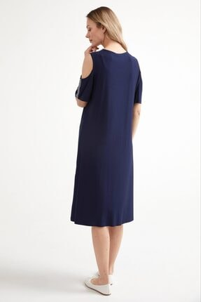 Sementa Pencere Kol Büyük Beden Taş Detaylı Kadın Elbise - Lacivert 3