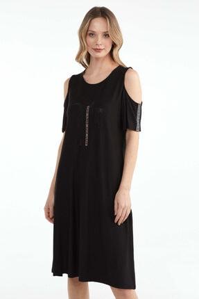 Sementa Pencere Kol Büyük Beden Taş Detaylı Kadın Elbise - Siyah 0