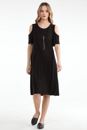 Sementa Pencere Kol Büyük Beden Taş Detaylı Kadın Elbise - Siyah 2