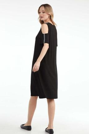Sementa Pencere Kol Büyük Beden Taş Detaylı Kadın Elbise - Siyah 3