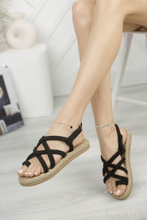 Muggo Rymw614 Kadın Hasır Sandalet Hediye 0