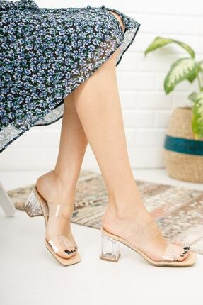 meyra'nın ayakkabıları Kadın Krem Şeffaf Bant Ve Topuk Detay Topuklu Ayakkabı 1