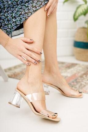 meyra'nın ayakkabıları Kadın Krem Şeffaf Bant Ve Topuk Detay Topuklu Ayakkabı 2