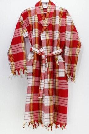 Elmira Kapşonlu Klasik Desen Peştemal Bornoz %100 Pamuk P81120S6326