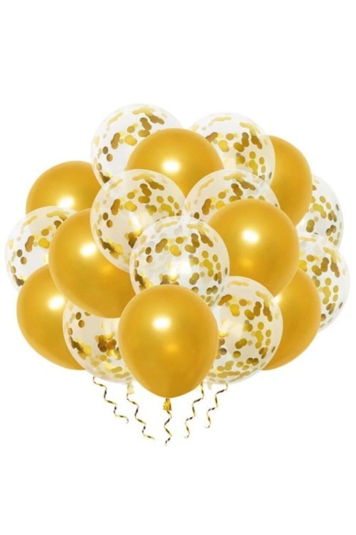 Gold Konfetili Şeffaf Balon Ve Metalik Gold Balon Seti 20 Adet
