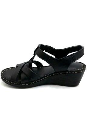 PUNTO -390107- Siyah %100 Deri Kadın Dolgu Taban Sandalet 1