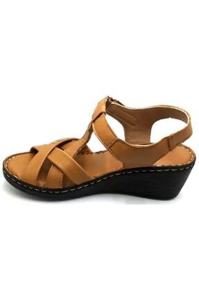PUNTO -390107- Taba %100 Deri Kadın Dolgu Taban Sandalet 1