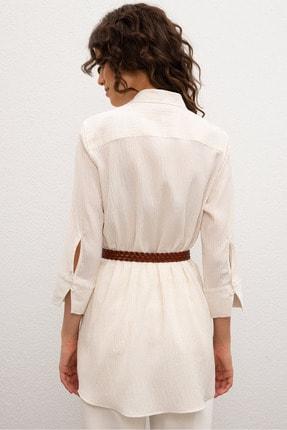 US Polo Assn Beyaz Kadın Dokuma Gömlek 2