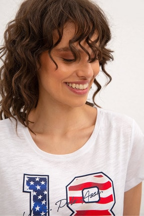 US Polo Assn Beyaz Kadin T-Shirt 1