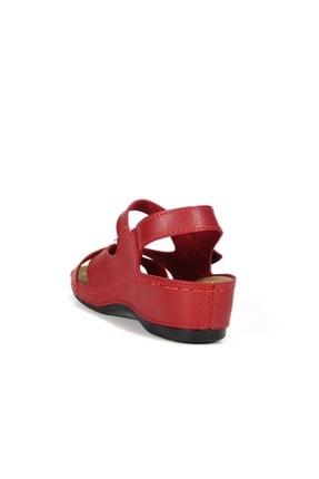 Akgün Kundura Kadın Cırtlı Çapraz Bantlı Sandalet No - Cilt - Kırmızı - 40 1