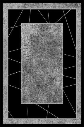 SUNTEKS HOME Dijital Baskı Kaymaz Taban Gri Zemin Siyah Çerçeve Desen Halı 2