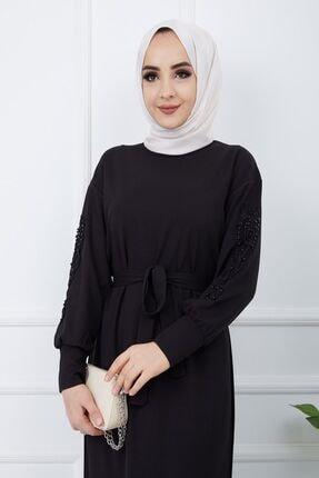 SULTAN BUTİK Kadın Siyah Kol İnci ve Dantel Detaylı Elbise 3