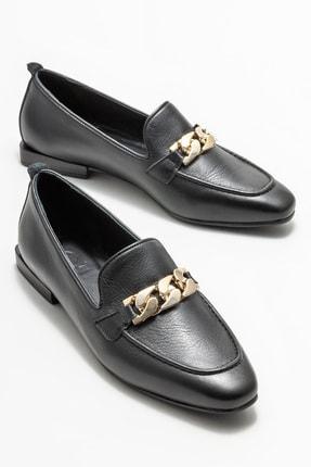 Elle Kadın Siyah Deri Loafer 1