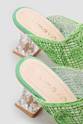 Limoya Kadın Yeşil Hasır İşlemeli Topuklu Terlik 3