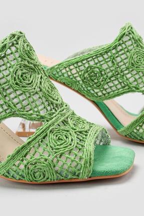 Limoya Kadın Yeşil Hasır İşlemeli Topuklu Terlik 4