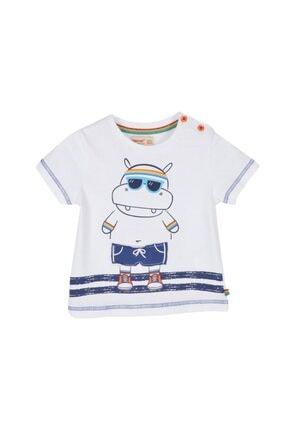 تصویر از Erkek Bebek Beyaz Renkli Baskılı Omuzdan Düğmeli Kısa Kollu T-Shirt