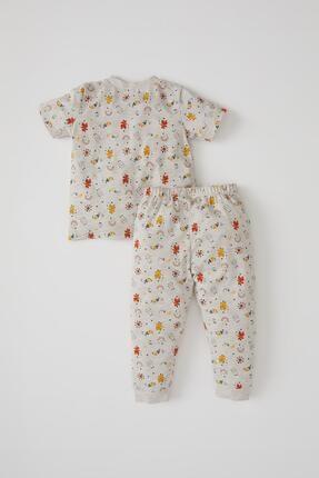 Defacto Erkek Bebek Desenli Kısa Kol Pijama Takımı 1