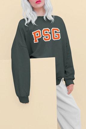 Pasage Kadın Gri Oversize Psg Baskılı Sweatshirt 4