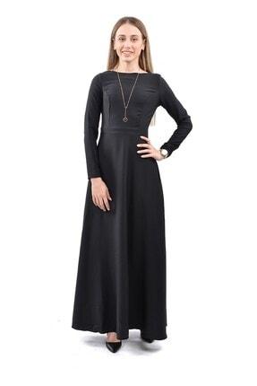 Kadın Siyah Maxi Uzun Kol Elbise SKL2230
